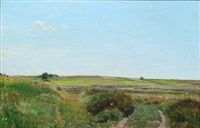 danish summer landscape with blue sky by georg nicolaj achen