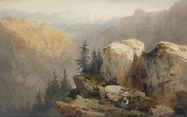blick auf die schweizer alpen by alexandre calame