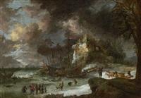 winterliche küstenlandschaft mit schiffen und rentierschlitten auf dem eis by jan peeters the elder