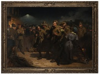 the return of the victors, waterloo station by frederick rushing roe
