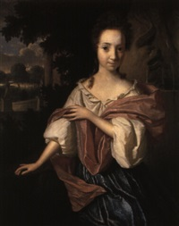 portrait of a lady in a white chemise by a fountain in a garden by aleijda wolfsen