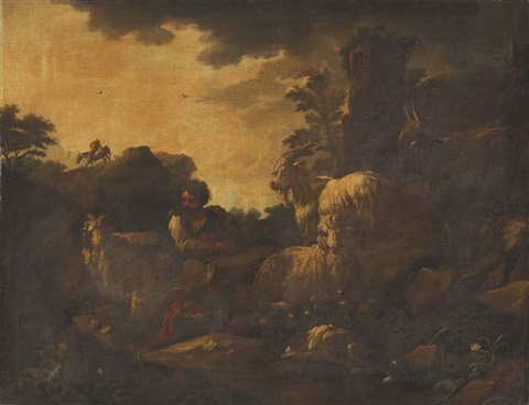 an italianate wooded landscape with a goatherd and his flock in the foreground by philipp peter roos