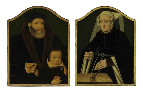 portrait of a gentleman and his son portrait of a lady pair by bartholomäus barthel bruyn the younger