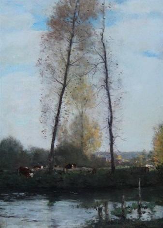 peupliers en bord de rivière by antoine chintreuil