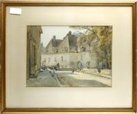 view of a continental town (+ another; 2 works) by arthur reginald smith