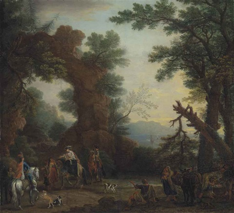 a wooded coastal landscape with a party of elegantly dressed figures on horseback on a path before a natural arch by john wootton