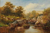 in the lledr valley, fisherman at a pool by david bates
