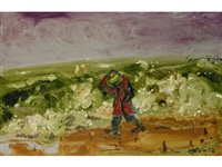 a man walking in a landscape on a windy day by sven berlin
