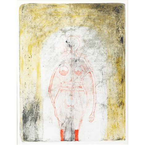 femme en rouge (from mujeres) by rufino tamayo