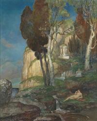 arkadische landschaft mit zypressen by alexander frenz