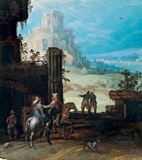reiter in einer landschaft mit ruinen by tobias verhaecht