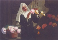 a nun arranging flowers in an interior by g. coronelli