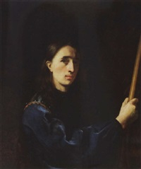 a self portrait of the artist wearing a blue velvet jacket with a cuirass by johann ulrich mayr