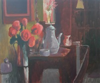 interior with jug of flowers and coffee pot by ralph spiller