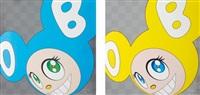 and then and then and then and then and then (aqua blue); and and then and then and then and then and then (yellow) (3 works) by takashi murakami