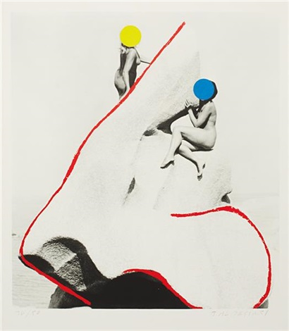 two nude women perched on a rock the promontory of noses by john baldessari