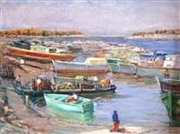 gujan-mestras, le port de larros et le désatroquage des huîtres by emile joseph jules simon
