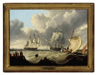 a 74 gun man-of-war approaching harbor with a frigate leaving by george webster