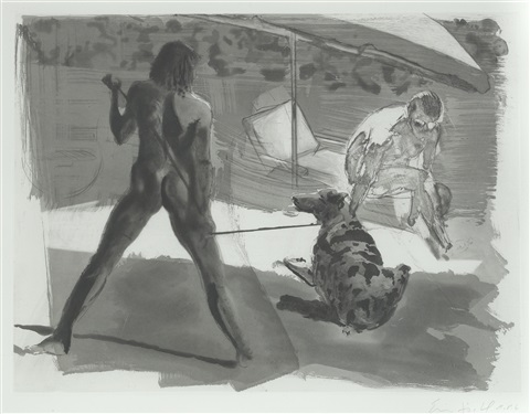 beach; shower (set of 2) by eric fischl