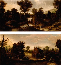 a wooded landscape with figures on a path and a moated castle beyond by philips de momper the younger