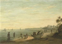 fisherman on the shore, bay of bengal, madras (+ another; pair) by lieutenant philip le couteur