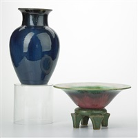 footed bowl with pedestal; baluster vase (2 works) by fulper pottery