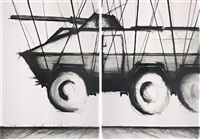 proyecto de 2004, armored vehicle suspended over historical floor (diptych) by enrique jezik