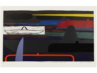 stetson sunset/half a homberg; sombre sombrero/buoyant beret (2 works) by bruce mclean