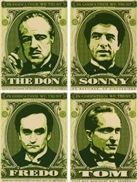 godfather set (the don, sonny, fredo, tom) (ensemble de quatre) by shepard fairey