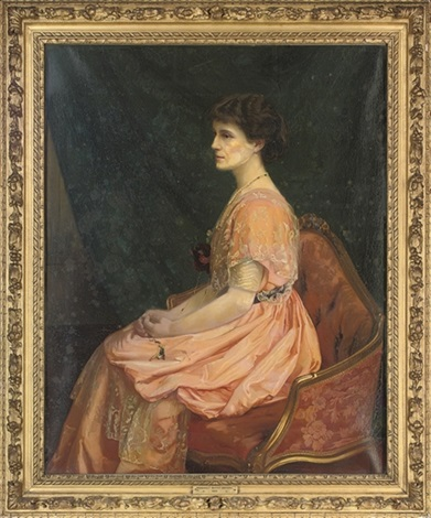 portrait of a young girl in a white shirt and red sash by luigi fioroni