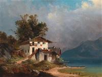 bauernhaus am seeufer by josef holzer