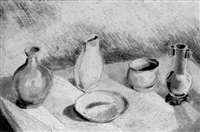still life with vases and bowls on a table by gerald reitlinger