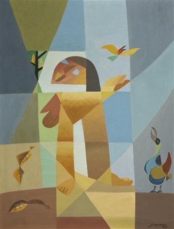 petite fille aux oiseaux by léopold survage