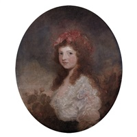 portrait of a girl with a pink bow by thomas lawrence