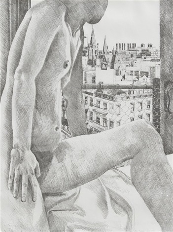 untitled nude and cityscape by philip pearlstein
