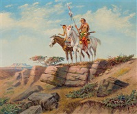 two warriors on horseback by olaf c. seltzer
