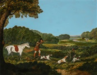 quail hunter in a landscape by british school (19)
