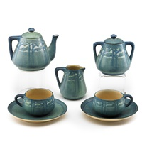 seven-piece transitional tea set for two with pine trees by henrietta davidson bailey
