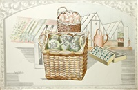 greenhouses with baskets of produce by paul nash