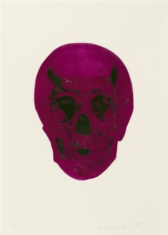 fuschia pink lime green skull from the dead by damien hirst