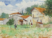 farm buildings, south of france by brett mcentaggart