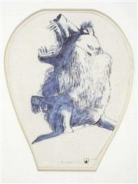 study for baboon vase by brett whiteley