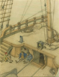 three preliminary drawings for treasure island (3 works) by edmund dulac