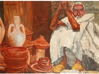 a middle eastern market trader seated beside pottery vessels by erich wolfsfeld