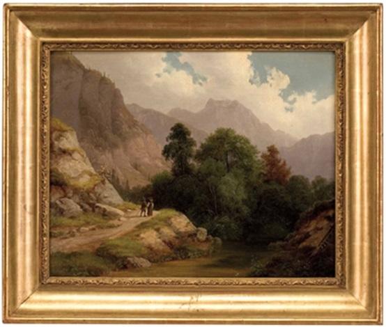 zwei wanderer in südtiroler gebirgslandschaft by joseph heicke