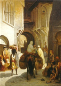 promeneurs sous les arcades by charles valfort