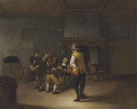 an interior with carousing peasants by jan miense molenaer