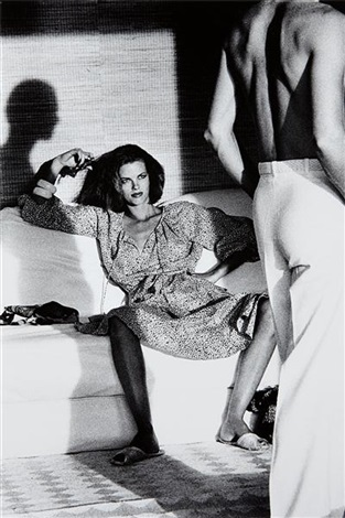 woman observing man saint tropez by helmut newton