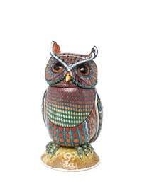 small owl fantasy bird covered vase by david burnham smith