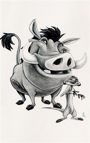 迪斯尼艺术家签名版狮子王:丁满和彭彭 by disney studios
